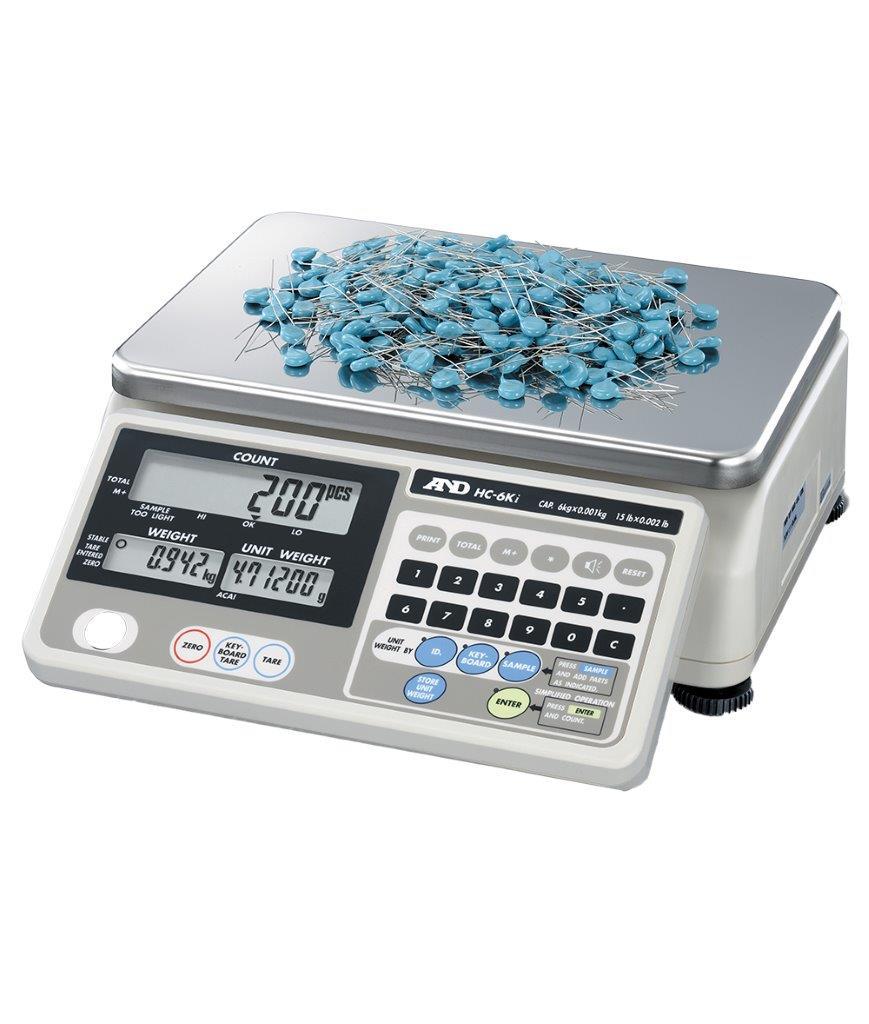 AND Zählwaage HC-6Ki mit Beispielgewichten zum zählen